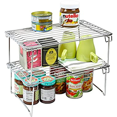 2 Pack - DecoBros Stackable Kitchen Cabinet Organizer, Chrome
