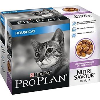 PRO PLAN Nutrisavour Housecat - A la Dinde  en gelée - 10 x 85g - Sachets repas pour chat adulte
