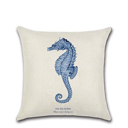 Funda cojín con diseño de criaturas marinas de Excelsio, cuadradas, 45 x 45 cm, de algodón, para sofás, camas, salones y ahbitaciones