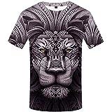 Impresión Digital 3D Animal Print Tigre Camiseta Casual Marea de Manga Corta de Hombres Europeos y Americanos -3XL