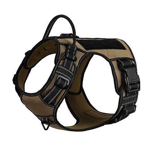 4XPAW Tactical Dog Harness,Hook and Loop Panel for ID Badge Patch,Adjustable Reflective K9 Walking Training Vest, No Pulling Front D Ring,Quick Release Buckle (M(Neck:15'-20'; Chest:23'-30'), Khaki)