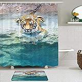 Juego de cortinas y tapetes de ducha de tela,Safari Imagen de un tigre de Bengala tumbado cerca del agua Vida salvaje,cortinas de baño repelentes al agua con 12 ganchos, alfombras antideslizantes