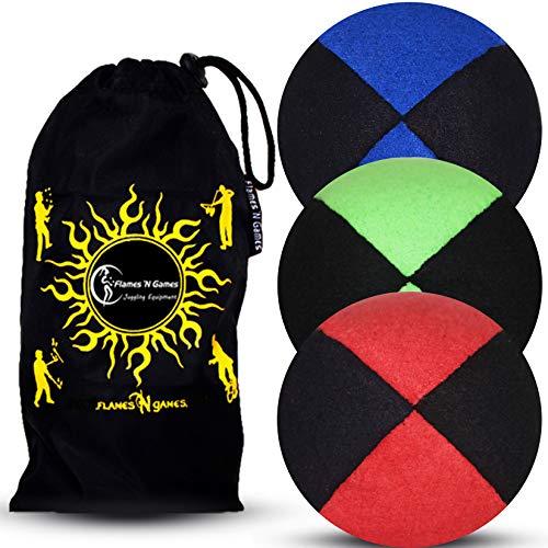 Jonglierbälle 3er Set: Profi Beanbag Bälle aus Velours +Tasche. Set Für Anfänger Wie Auch Für Profis. (Schwarz mit Blau/Grün/Rot)