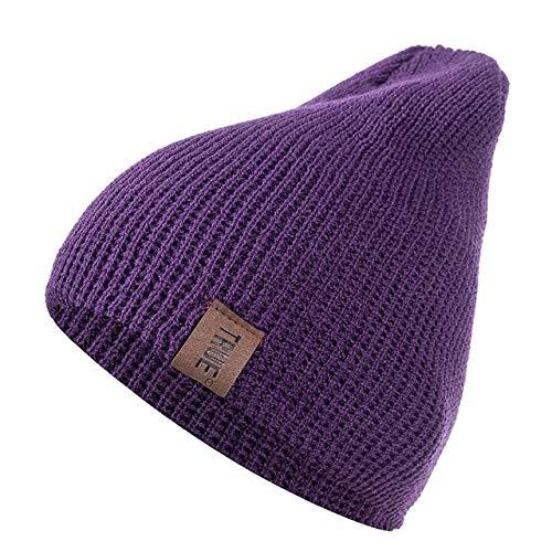1 Uds.Gorro con Letras Casuales para Hombres y Mujeres, Gorro de Invierno de Punto cálido, Gorro Unisex de Hip Hop sólido a la Moda-Purple-54cm-60cm