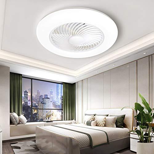 Ventilador de techo moderno con luces y mando a distancia, ventilador de techo empotrado con luz, 3 colores de bajo perfil con luces, ventilador de techo sin aspas con luz (blanco)