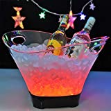 YLEI LED Ice Cooler Buckets - Beverage Tub - Beverage Bucket - 12L Large Capacity Wine Cooler led Waterproof with Colours Changing, Retro Champagne Wine Drinks Bucket, for Party,Home,bar,etc