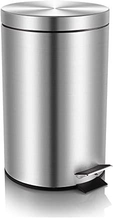 Mini Round Trash Can with Lid Soft Close,  Bathroom Trash Can with Removable Inner Wastebasket,  Fingerprint-Proof Brushed Stainless Steel,  0.8 Gallon/3 Liter