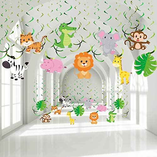 Blulu 30 Count Jungle Safari Animals Party Decorations Jungle Animals Hanging Swirl, Forest Theme Foil Swirls Ceiling for Safari Birthday Decorations Jungle Party Safari Baby Shower Decorations