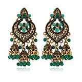 WE-WHLL Retro Indian Bollywood Kundan Jhumka Jhumki Pendientes de Gota Gypsy Fashion Jewelry-8