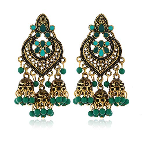 Pendientes de borla vintage para mujer, estilo retro indio Bollywood kundan Jhumka Jhumki gota pendientes de gota pendientes gitanos joyería de moda para boda fiesta