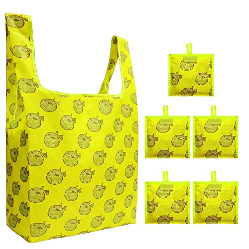 Puffer Fish Reusable Grocery Bags 5 Pack Foldable Reusable Shopping Bags Fit in Attached Pouch Cute Animal Yellow Cloth Reusable Grocery Shopping Tote Bags for Shopping