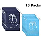 YAMIU 10 Pcs Shoe Bags Dust-proof Drawstring with Window Travel Shoe Storage Bags