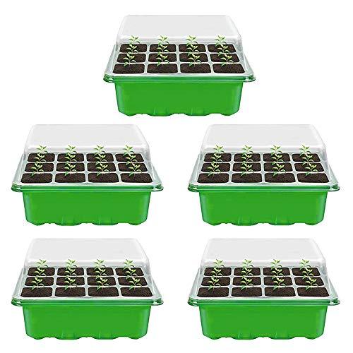 Your's Bath Zimmergewächshaus Anzuchtkasten,Mini Gewächshaus Set,12 Gitter Kunststoff Treibhaus Anzucht für Sämling Pflanze Aufzucht (Grün)