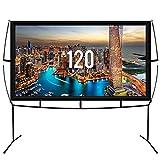 KHOMO GEAR Pantalla XL Grande para Proyector con Base Uso Interior y Exterior 250 x 150 cm - 120 Pulgadas - TV Projector Screen