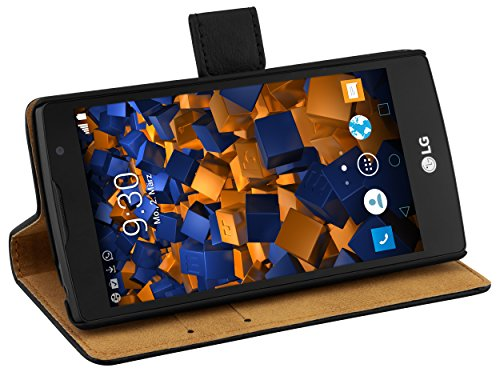 mumbi Echt Leder Bookstyle Case kompatibel mit LG Spirit 4G Hülle Leder Tasche Case Wallet, schwarz