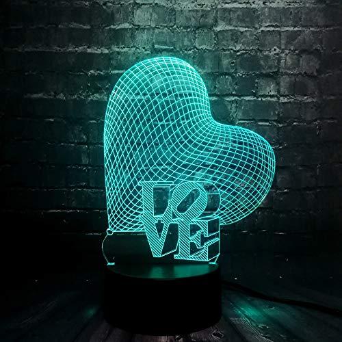 Suhang Led-lamp met zacht hartje, sfeer, 7 kleuren, wisselend nachtlicht, verliefd cadeau voor verjaardag, decoratie thuis Controller 7 Color Love Heart