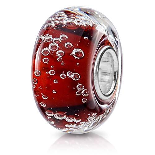 MATERIA Beads Anhänger Murano Glas Schmuck rot Luftblasen mit 925 Silber Hülse für Armbänder 798