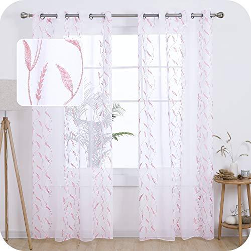 Amazon Brand – Umi Cortinas Translucidas Decorativas con Motivos Espiga de Trigo con Ojales 2 Piezas 140x245cm Rosa