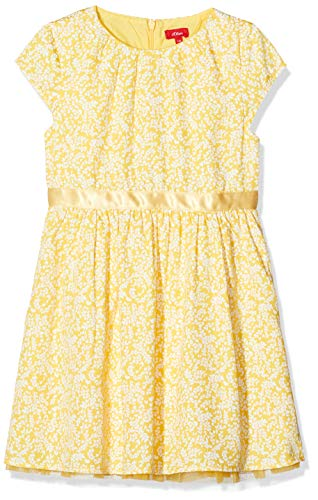 s.Oliver Mädchen 58.911.82.2974 Kleid, Gelb (Yellow AOP 13A7), 122 (Herstellergröße:122/REG)