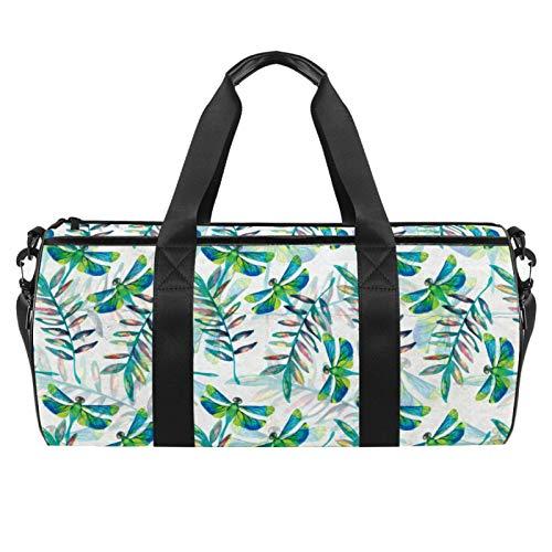 LAZEN Hombro Handy Sports Gym Bags Travel Duffle Totes Bag para Hombres Mujeres Acuarela Verde Libélula Patrón de hojas