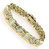 Pulsera para hombre, con forma redonda, transparente, con cruz de diamante de 2,30 quilates, chapado en oro amarillo de 14 quilates, plata 925, ancho: 11 mm