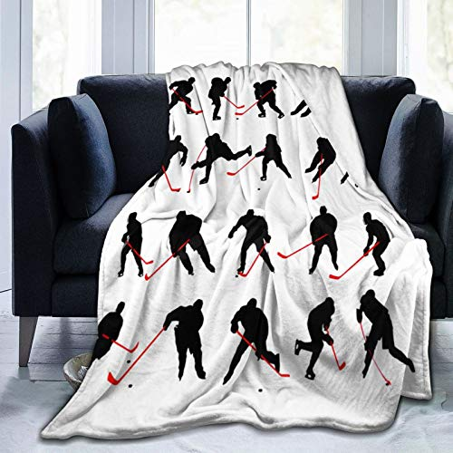 """QUEMIN Eishockey-Decke Ultra Soft Velvet Quilt Langlebige Wohnkultur Fleece Luxuriöser Teppich Schlafsofa Reise, 80\""""x 60\"""""""