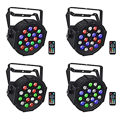Stage Lights Battery Powered, LaluceNatz 18 RGB LEDs Par Lights, Sound Activated DJ Lights, Uplighting Lights with Remote and DMX Control for Wedding, Church, Party, Stage Lighting (4 Pack)
