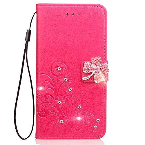 Tosim LG Stylus 2/Stylus 2 Plus Hülle Klappbar Leder, Brieftasche Handyhülle Klapphülle mit Kartenhalter Stossfest Lederhülle für LG Stylus2 / K520 - TOSDA091159 Rosa Rot