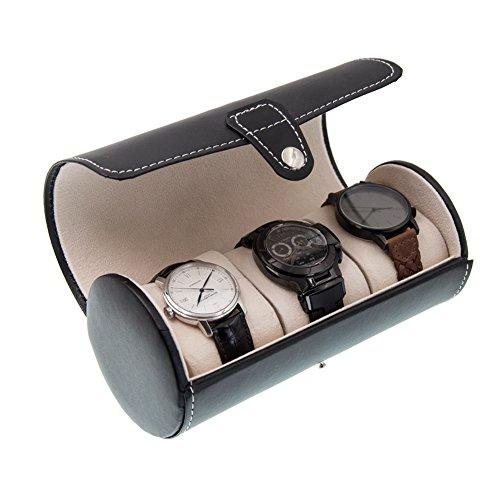 MGS AWP-3 Travel Watch Organizer Watches Case Leatherette Roll Watch Storage Pouch Jewelry Box 3-Slots (Black)