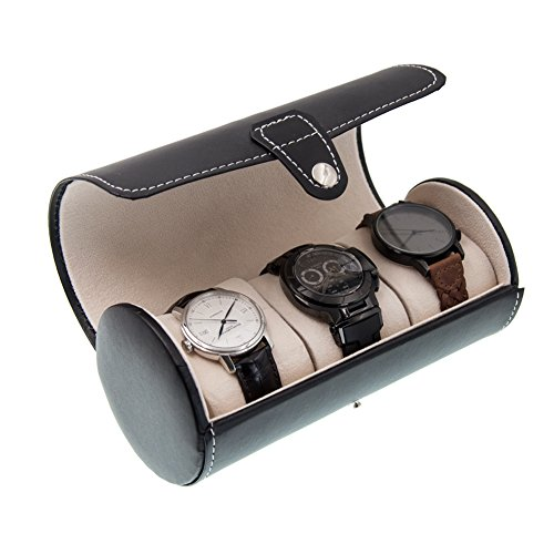 MGS AWP-3 Travel Watch Organizer Watches Case Leatherette Roll Watch Storage Pouch Jewelry Box 3-Slots (Black)