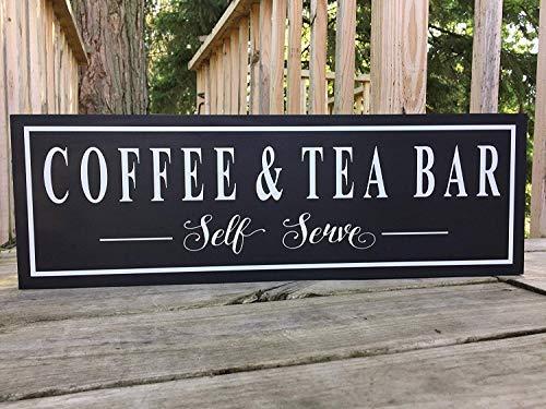 istiWood 20 x 55 cm Kaffee und Tee Bar Schild Coffee and Tea Bar Landhaus Dekor Kaffee Lovers Geschenk Tea Lover Geschenk Geschenk 20 x 55 cm Antik Hütte Wanddekoration Schild CB 679852
