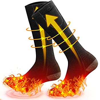 MOVTOTOP Heated Sock All-Round Heated Socks Feet and Toes-Heated Socks for Men/Women Rechargeable Washable Electric Socks 3 Heat Settings Battery Heated Socks Up to 140℉ for Outdoor&Indoor Grey