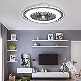 ESACLM Ventilador De Techo con Iluminación Control Remoto Fan Silencioso Candelabro LED Moderno Luz De Techo Regulable Ventilador De Sincronización Lámpara Colgante Habitación De Niños Lámparas,Gris