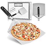 Checkered Chef Pizza Paddle - Large Stainless Steel Peel w/ Folding Handle - 9.5 Inch x 13 Inch