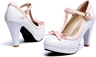 Women's Chic Sweet Round Toe T-Strap Bows Adorable Buckle High Cone Heel Mary Janes Dress Pumps