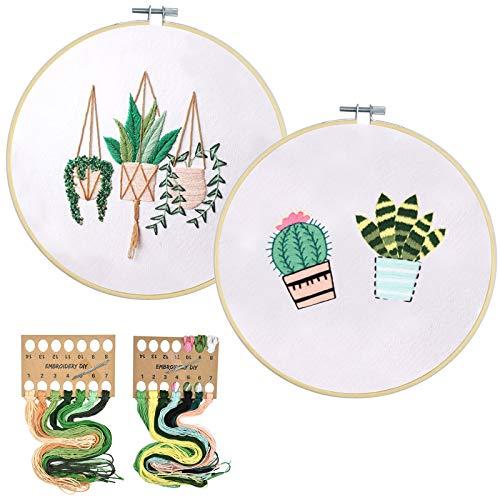 2 Kit Démarrage de Broderie avec Motif, Kit de Point Croix Complet avec 2 Pré-Imprimés Floral Vêtements de Broderie, 6 Aiguilles, Cerceaux en Bois,Fil Coloré pour Adultes Débutants (30 x 30cm)