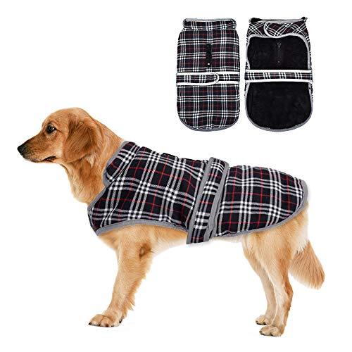 Eastlion Ropa a Cuadros Abrigo de Perro para Invierno Chaleco cálido para Mascotas Ropa de Chaqueta de Perro para Perros Pequeños Medianos Grandes,Negro,S