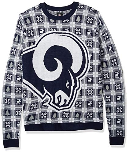 NFL Los Angeles Rams BIG LOGO 2018 Ugly Sweater, Large