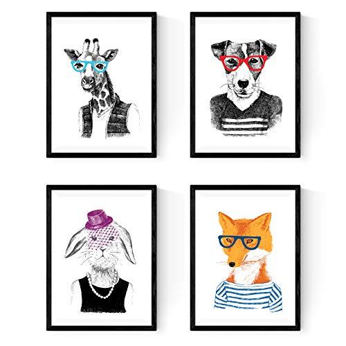 Nacnic láminas de Animales,en tamaño Varios Poster Papel 250 gr (A4, Animales Hipsters)