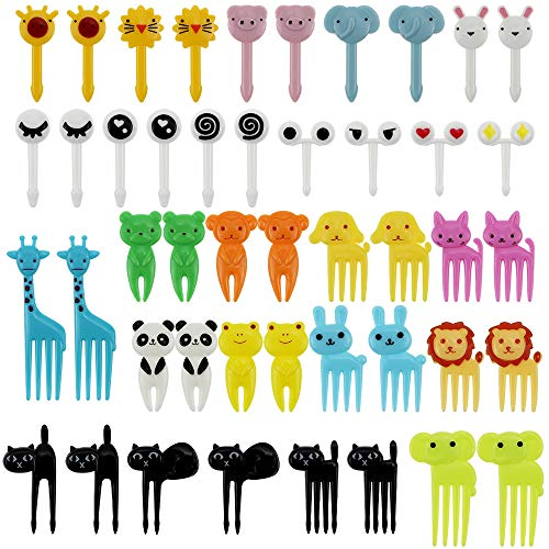 KingYH 46 Pack Animal Fruit Picks Fork Plastic Cartoon Cupcake Toppers Bento Lunch Deco Toothpick for Kids Birthday Party Sandwich Fruit Desserts Decoration