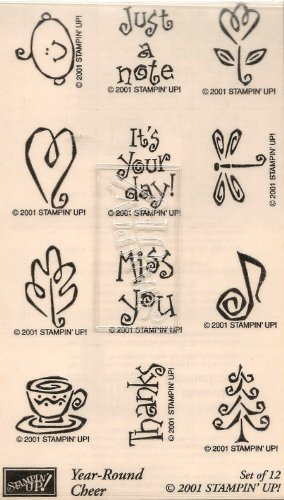 Stampin' Up! 'Year Round Cheer' - Set of 12 All-Occasion Decorative Rubber Stamps Retired 2001