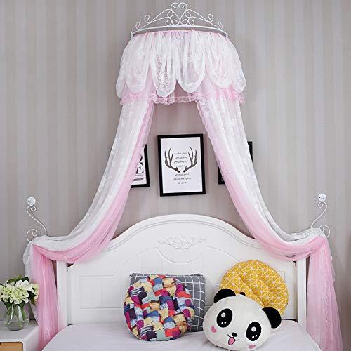 GE&YOBBY Princesa Bed Canopy,Corona La Cúpula Mosquitera Cortina De Cama De Encaje para Sala De Juegos para Niñas Dormitorio-b 2.0m