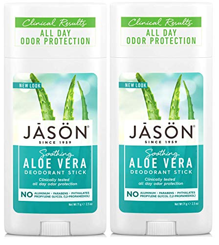 JĀSÖN Soothing Aloe Vera Deodorant Stick (Pack of 2) with Grapefruit Seed Extract, Aloe Vera Leaf Juice and Vitamin E, No Aluminum, Phthalates or Propylene Glycol, 2.5 oz.