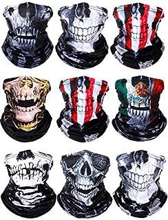 Hicarer 9 Pieces Skull Print Face Bandanas UV Protection Neck Gaiter Breathable Face Cover Balaclava for Men Women Decorat...
