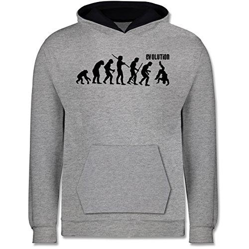 Evolution Kind - Evolution Hip Hop - 152 (12/13 Jahre) - Grau meliert/Navy Blau - Breakdance Kinder - JH003K - Kinder Kontrast Hoodie