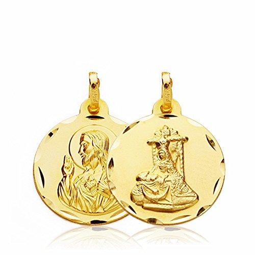 Medalla Escapulario Oro 18K Virgen Angustias C. Jesús 18mm. [Aa2655]