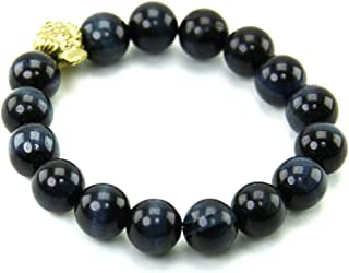 Amulet Bracelet Gem Stone Blue Tiger Eye Stone 10 mm. w/Frog Coin Period (Gimseum Su) or 3-Legged Frog Help Wealth, Beliefs Fortune, Auspicious, Protection Enhance Power, Prestige, Career Advancement