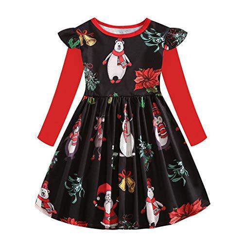 WFRAU Baby Mädchen Weihnachten Lange Ärmel Prinzessinenkleid Kinder Weihnachtsmann/Weihnachtsbaum/Schneemann Drucken Rüsche Xmas Hemdkleid Freizeitkleidung Anzug für 2-8 Jahre