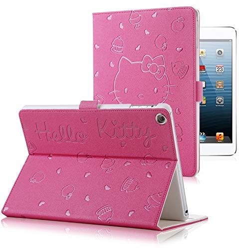 SOTEFE® Prägung Cartoon Hello Kitty Hülle iPad Air 2, iPad Air Hülle, Auto Sleep/Wake Funktion - Muster Apfel Eiscreme,Kuchen, Herz Schutzhülle für Apple iPad Air, iPad Air 2 - Fushia