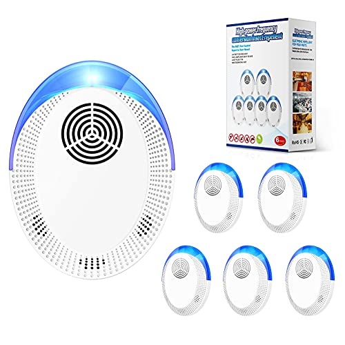 Bocianelli Ultrasonic Pest Repeller, 6 Packs, Electronic Indoor Pest Repellent Plug in for Insects, Pest Control for Garage, Living Room, Office, Hotel